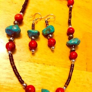 Genuine turquoise, coral, heishi necklace